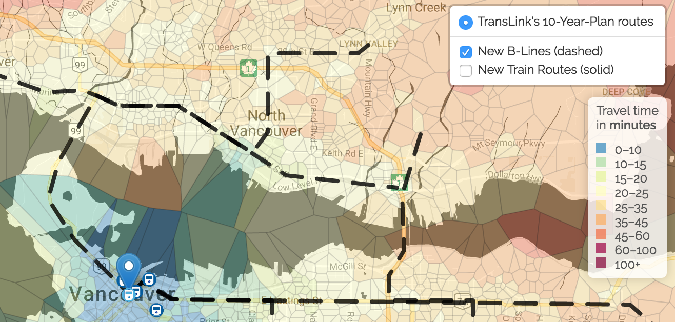 voronoi map with Translink B-lines